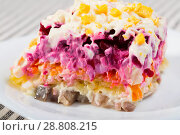 Купить «Dressed Herring salad», фото № 28808215, снято 26 июня 2018 г. (c) Яков Филимонов / Фотобанк Лори