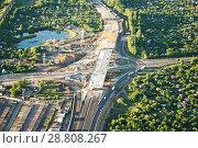 Купить «Строительство дорожной развязки на окружной дороге, Рязань», фото № 28808267, снято 27 мая 2018 г. (c) Инна Грязнова / Фотобанк Лори