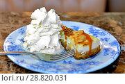 Купить «Cheesecake with caramel and cream», фото № 28820031, снято 11 июля 2018 г. (c) Валерия Попова / Фотобанк Лори