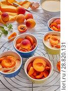 Купить «Ingredients for french dessert apricot clafoutis», фото № 28820131, снято 22 июля 2018 г. (c) Oksana Zh / Фотобанк Лори