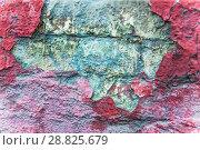 Купить «Старая кирпичная стена, окрашенная много раз. Облупившаяся краска. Фон. Текстура», фото № 28825679, снято 24 июля 2018 г. (c) Алёшина Оксана / Фотобанк Лори