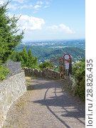 Купить «BRUNATE, ITALY - July 6, 2018: Via Attilio Pirotta on a sunny summer day», фото № 28826435, снято 6 июля 2018 г. (c) Григорий Стоякин / Фотобанк Лори