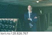 Купить «Professional winemaker in wine cellar», фото № 28826767, снято 22 января 2018 г. (c) Яков Филимонов / Фотобанк Лори