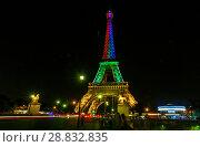 Купить «Tour Eiffel at night», фото № 28832835, снято 19 июля 2013 г. (c) Сурикова Ирина / Фотобанк Лори