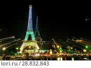 Купить «Tour Eiffel at night», фото № 28832843, снято 19 июля 2013 г. (c) Сурикова Ирина / Фотобанк Лори