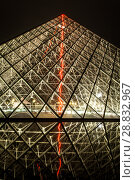 Купить «Museum Louvre at night with red flash in pyramid», фото № 28832967, снято 5 сентября 2014 г. (c) Сурикова Ирина / Фотобанк Лори