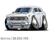 Купить «Vector Cartoon retro car», иллюстрация № 28833155 (c) Александр Володин / Фотобанк Лори