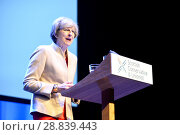 Купить «Prime Minister Theresa May, leader of the Conservative Party, addressing the annual Scottish Conservative Conference at the SECC in Glasgow. Featuring...», фото № 28839443, снято 3 марта 2017 г. (c) age Fotostock / Фотобанк Лори