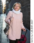 Купить «portrait of mature female with baggage», фото № 28841667, снято 27 ноября 2017 г. (c) Яков Филимонов / Фотобанк Лори