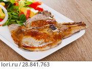 Купить «Pork chops with vegetable salad», фото № 28841763, снято 17 июля 2019 г. (c) Яков Филимонов / Фотобанк Лори
