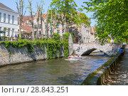 Купить «Живописный исторический центр города с каналом. Брюгге. Бельгия», фото № 28843251, снято 6 мая 2018 г. (c) Сергей Афанасьев / Фотобанк Лори