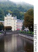 Купить «Karlovy Vary (Carlsbad), Tepla river.  Czech Republic», фото № 28844031, снято 14 сентября 2014 г. (c) Куликов Константин / Фотобанк Лори