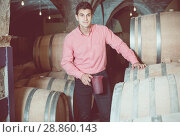 Купить «serious man posing in winery cellar», фото № 28860143, снято 21 сентября 2016 г. (c) Яков Филимонов / Фотобанк Лори