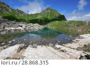 Купить «Загеданские озера в горах Кавказа», фото № 28868315, снято 6 июля 2018 г. (c) Яна Королёва / Фотобанк Лори
