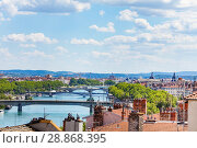 Купить «Rhone river with its bridges in Lyon, France», фото № 28868395, снято 14 июля 2017 г. (c) Сергей Новиков / Фотобанк Лори