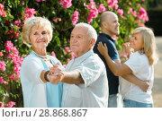Купить «Adult friends dancing pair dance in garden», фото № 28868867, снято 24 августа 2017 г. (c) Яков Филимонов / Фотобанк Лори