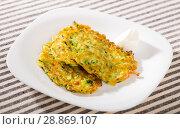 Купить «Image of pancakes from courgettes», фото № 28869107, снято 15 октября 2018 г. (c) Яков Филимонов / Фотобанк Лори
