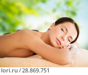 Купить «beautiful woman having hot stone therapy at spa», фото № 28869751, снято 25 июля 2013 г. (c) Syda Productions / Фотобанк Лори