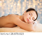 Купить «beautiful woman having hot stone therapy at spa», фото № 28870023, снято 25 июля 2013 г. (c) Syda Productions / Фотобанк Лори