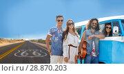 Купить «hippie friends at minivan car over us route 66», фото № 28870203, снято 27 августа 2015 г. (c) Syda Productions / Фотобанк Лори