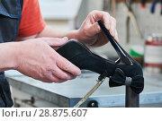 Купить «Shoemaker repair female spike shoe. glueing heel», фото № 28875607, снято 25 апреля 2018 г. (c) Дмитрий Калиновский / Фотобанк Лори