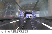 Купить «Flat escalator with people at Charles de Gaulle Airport in Paris, France», видеоролик № 28875835, снято 29 сентября 2017 г. (c) Данил Руденко / Фотобанк Лори
