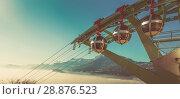Купить «Aerial city view of Grenoble with cable car, France», фото № 28876523, снято 7 декабря 2017 г. (c) Яков Филимонов / Фотобанк Лори
