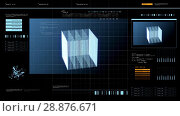 Купить «virtual screen with cube 3d rendering over black», видеоролик № 28876671, снято 3 июля 2018 г. (c) Syda Productions / Фотобанк Лори