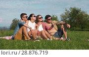 Купить «friends taking picture by selfie stick in summer», видеоролик № 28876719, снято 19 июля 2018 г. (c) Syda Productions / Фотобанк Лори