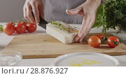 A woman in an apron puts a piece of soft cheese on a wooden cutting board for salad preparation on a white kitchen table with red tomatoes, greens, salt. Dolly-in slow motion video in 4K. Стоковое видео, видеограф Ярослав Данильченко / Фотобанк Лори