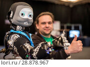 Купить «'Nikita' the robots name is an I Cub that is able to track objects and react, on show from Edinburgh centre of Robotics at Heririot Watt University at...», фото № 28878967, снято 22 марта 2017 г. (c) age Fotostock / Фотобанк Лори