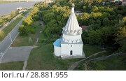 Купить «View from drones of church of Kozma and Demian in Murom, Russia», видеоролик № 28881955, снято 27 июня 2018 г. (c) Яков Филимонов / Фотобанк Лори