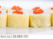 Купить «Japanese food restaurant, sushi maki gunkan roll plate or platter set. Sushi set and composition», фото № 28889151, снято 17 октября 2016 г. (c) Александр Маркин / Фотобанк Лори