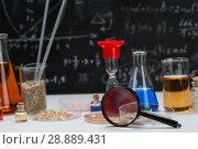 Купить «Test tubes on a table», фото № 28889431, снято 4 августа 2018 г. (c) Типляшина Евгения / Фотобанк Лори