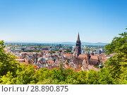 Freiburg cityscape with Munster against blue sky. Стоковое фото, фотограф Сергей Новиков / Фотобанк Лори
