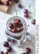 Купить «Natural fresh home grown fruits cherries of close-up. Ingredients for delicious berries pie on kitchen table.», фото № 28891019, снято 12 июня 2018 г. (c) Ярослав Данильченко / Фотобанк Лори
