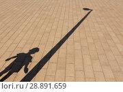 Купить «Shadow of boy and streetlight on paving stone», фото № 28891659, снято 4 августа 2018 г. (c) Дмитрий Рыженков / Фотобанк Лори