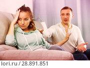 Купить «Couple arguing at home», фото № 28891851, снято 18 марта 2017 г. (c) Яков Филимонов / Фотобанк Лори