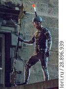 Купить «Film crew and stuntmen prepare for the filming of the upcoming movie 'Avengers: Infinity War' on the Royal Mile in Edinburgh Featuring: Stuntman Where...», фото № 28896939, снято 31 марта 2017 г. (c) age Fotostock / Фотобанк Лори