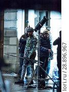 Купить «Film crew and stuntmen prepare for the filming of the upcoming movie 'Avengers: Infinity War' on the Royal Mile in Edinburgh Featuring: Stuntman Where...», фото № 28896967, снято 31 марта 2017 г. (c) age Fotostock / Фотобанк Лори