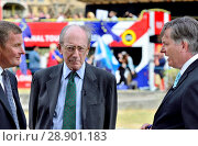 David Jones (Con: Clwyd West) and Sir Malcolm Rifkind, former Conservative MP and cabinet minister, being interviewed on College Green by BBC's Simon McCoy, Westminster July 2018. Редакционное фото, фотограф Phil Robinson / age Fotostock / Фотобанк Лори