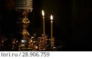 Купить «Believers in the church. Russian Orthodox Church», видеоролик № 28906759, снято 7 августа 2018 г. (c) Mikhail Erguine / Фотобанк Лори