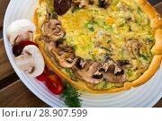 Купить «Quiche tart with mushrooms», фото № 28907599, снято 16 декабря 2018 г. (c) Яков Филимонов / Фотобанк Лори