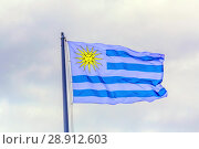 The national flag of Uruguay is fluttering in the wind against the background of the cloudy sky. Стоковое фото, фотограф Акиньшин Владимир / Фотобанк Лори