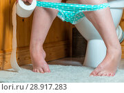Купить «problem - conceptual photo of diarrhea, female feet and toilet paper in the frame», фото № 28917283, снято 17 августа 2017 г. (c) Константин Лабунский / Фотобанк Лори