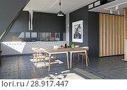Купить «modern loft kitchen interior», фото № 28917447, снято 15 августа 2018 г. (c) Виктор Застольский / Фотобанк Лори