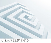 Купить «Abstract white square spiral maze object 3d», иллюстрация № 28917615 (c) EugeneSergeev / Фотобанк Лори