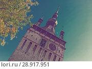 Купить «Illustration of Clock tower is architecture landmark of Sighisoara», фото № 28917951, снято 16 сентября 2017 г. (c) Яков Филимонов / Фотобанк Лори