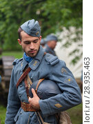 Купить «RUSSIA, MOSCOW - JUNE 9, 2017: Soldier of the 106 regiment France of First World War. Moscow historical festival Times and Epochs», фото № 28935463, снято 9 июня 2017 г. (c) Виталий Батанов / Фотобанк Лори
