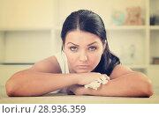 Купить «Young brunette woman wipes tears», фото № 28936359, снято 16 августа 2018 г. (c) Яков Филимонов / Фотобанк Лори